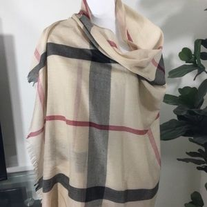 Accessories - NEW Large checked tan scarf wrap